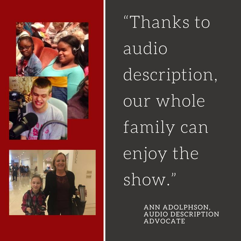 "A collage of patrons utilizing Audio Description Devices with the quote ""Thanks to audio description, our whole family can enjoy the show."""